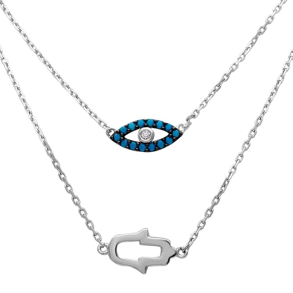 Necklace Hamsa Hand and Evil Eye Necklace