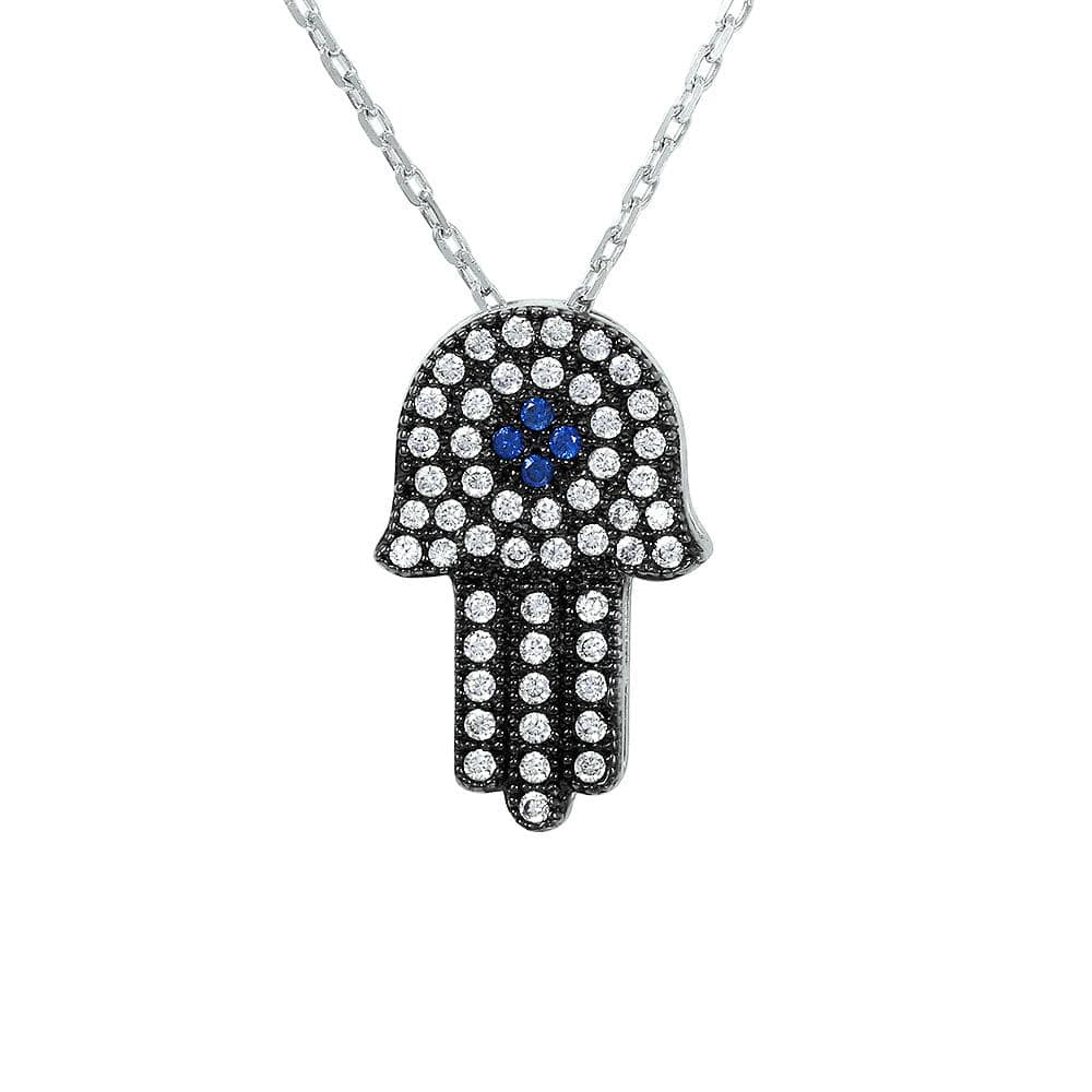 Necklace Hamsa Necklace pendant Sterling Silver 925 Rhodium Plated Black CZ Hamsa Necklace