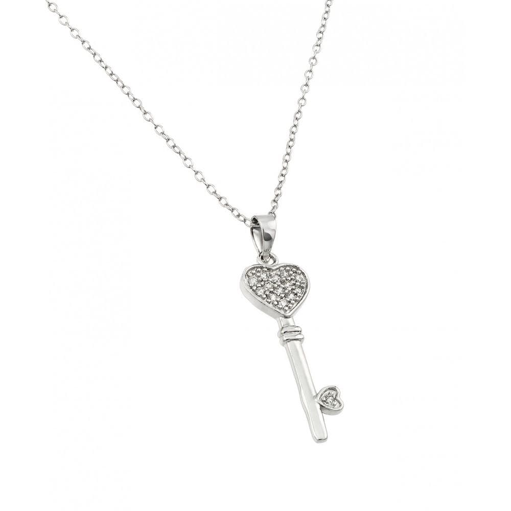 Necklace Heart Key Diamond Necklace