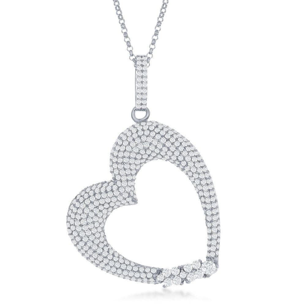 Heart Micro Pave Puffed Necklace