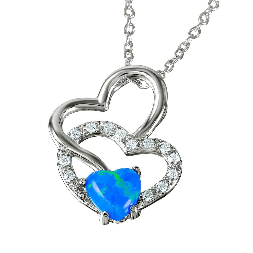 Necklace Heart with Blue Opal and Diamond Necklace