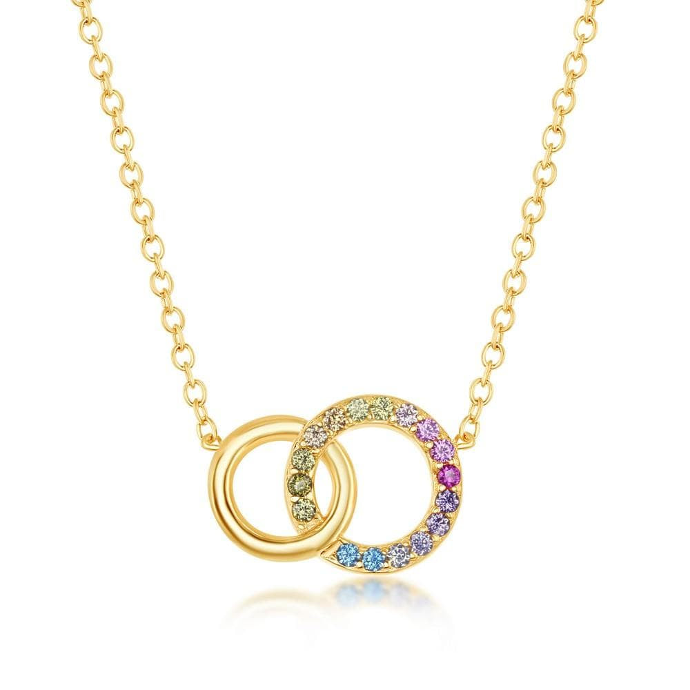 Interlocking Double Circle Pendant Necklace