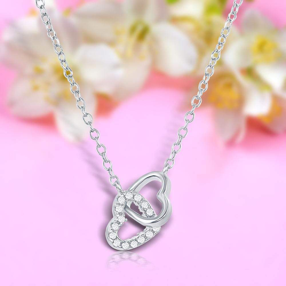 Necklace Interlocking Double Heart Necklace  Interlocking Double Heart Necklace Sterling Silver