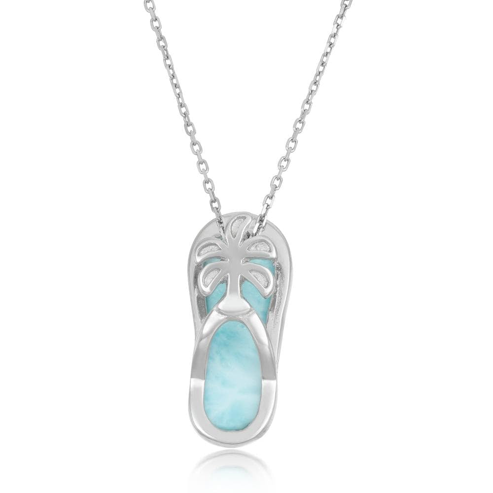 Larimar Flip Flop with Palm Tree Necklace