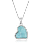 Necklace Larimar Heart Pendant Necklace  Larimar Heart Pendant Necklace Sterling Silver