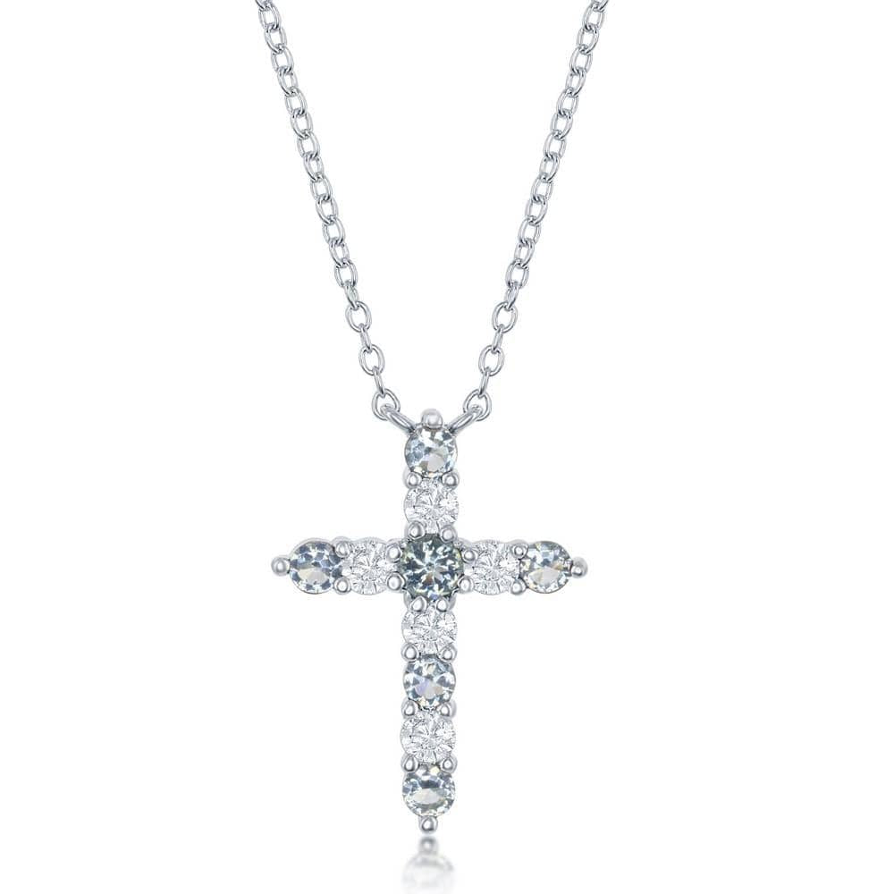 Necklace March Birthstone Cross Necklace March Birthstone Cross Necklace Sterling Silver