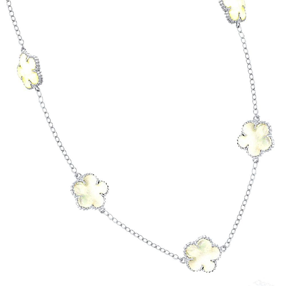 Necklace MOP Flower White Enamel Necklace