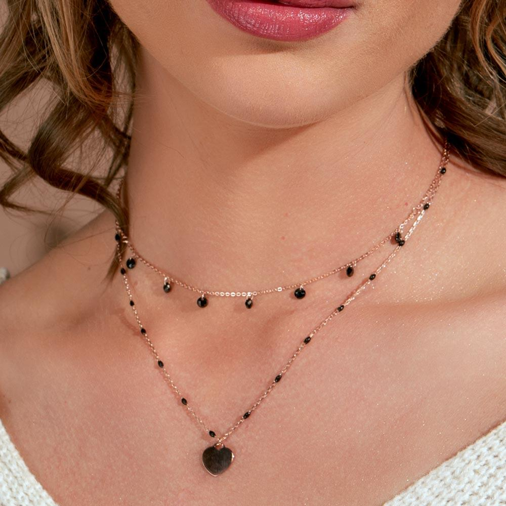 Necklace Multi Chain Black Enamel Beaded Heart Necklace