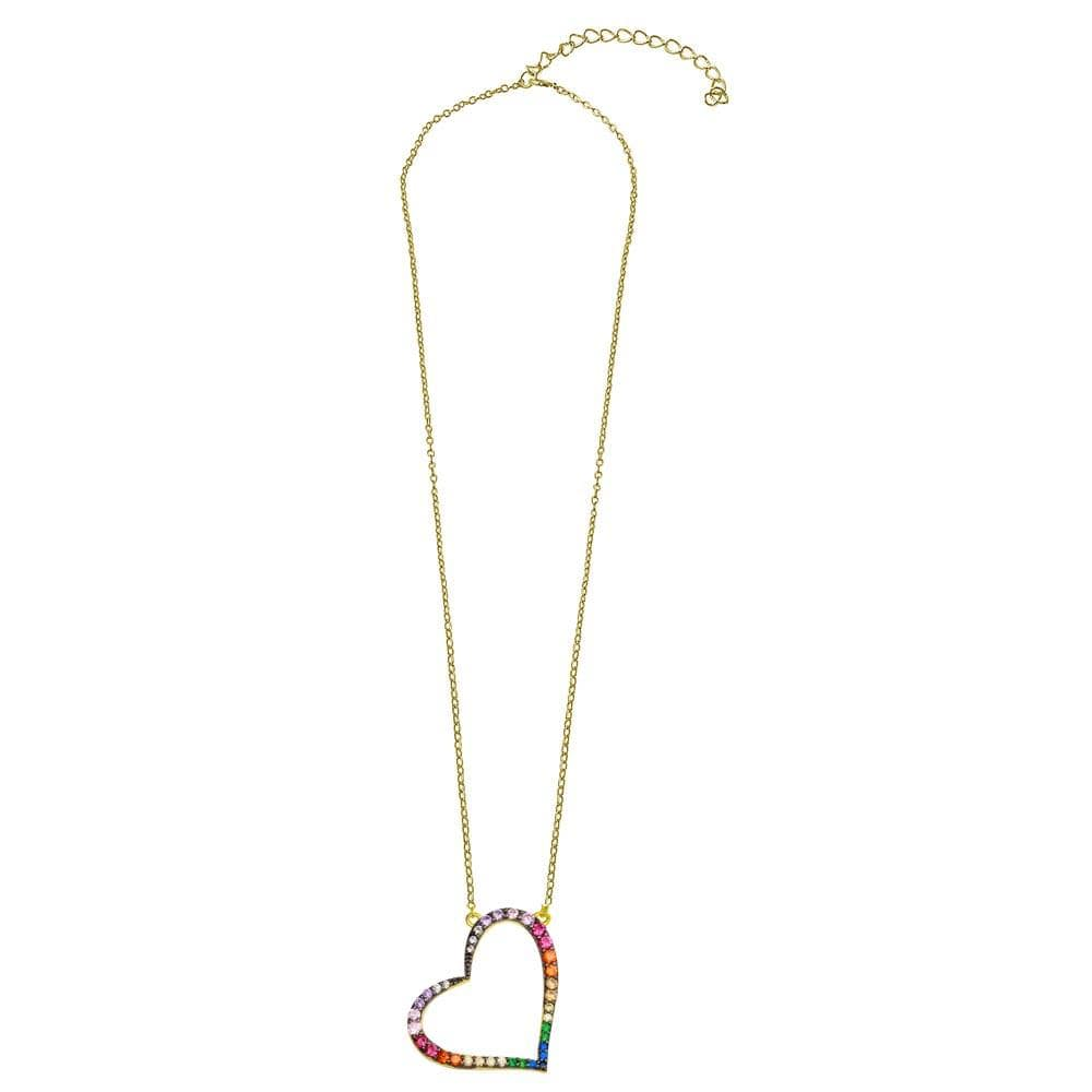 Necklace Multi Color Gemstone Slanted Heart Necklace