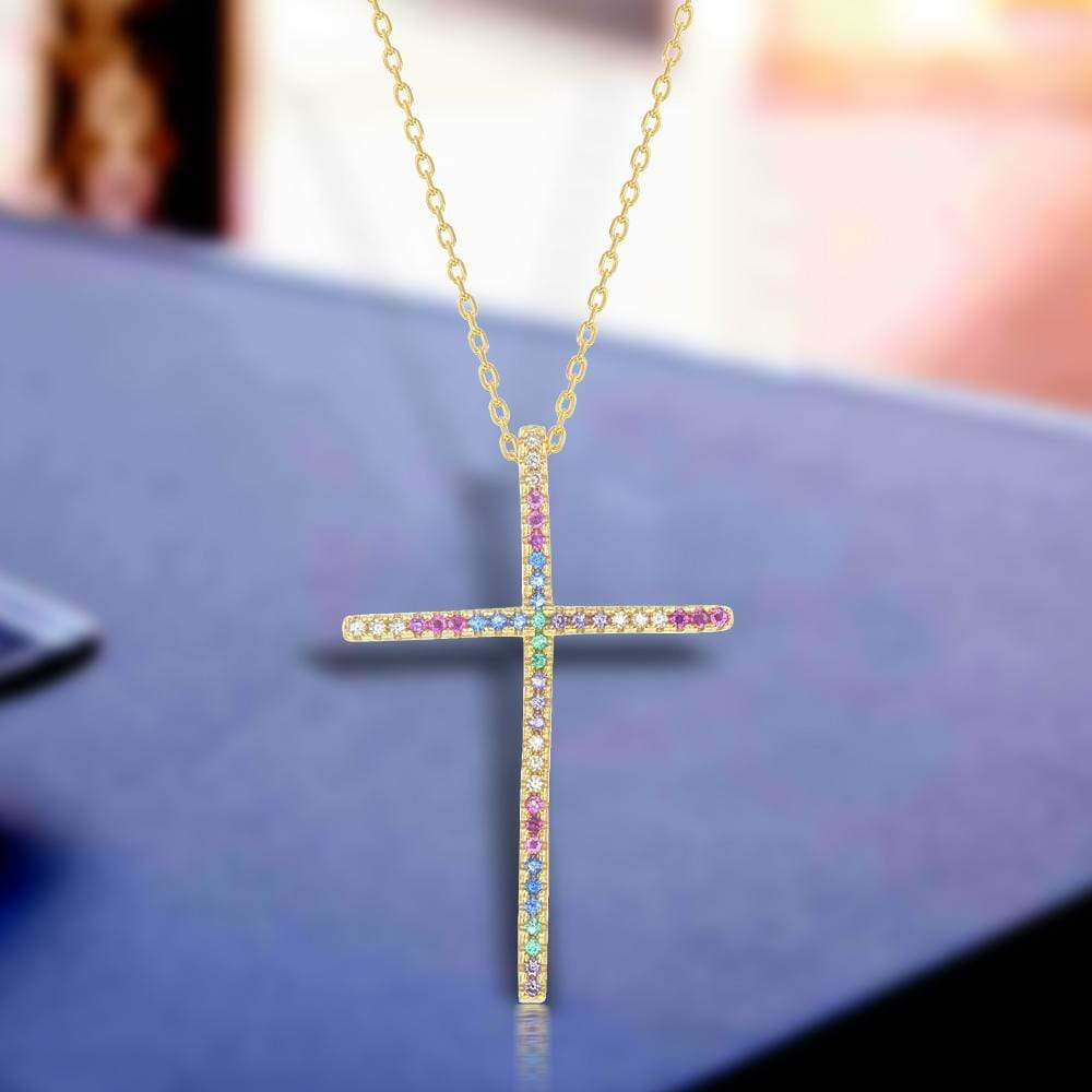 Necklace Multi-Color Stone Cross Necklace Multi-Color Stone Cross Necklace Sterling Silver