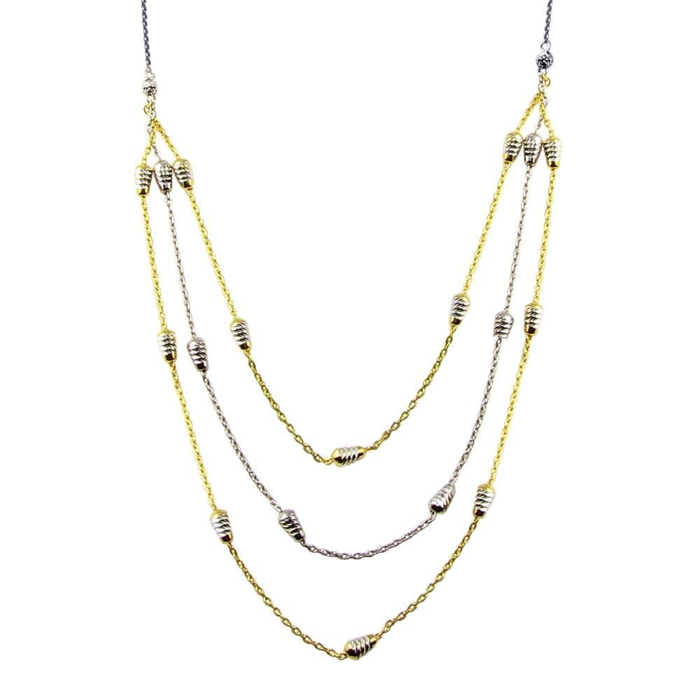Necklace Multi Three strand Dc Bar Necklace