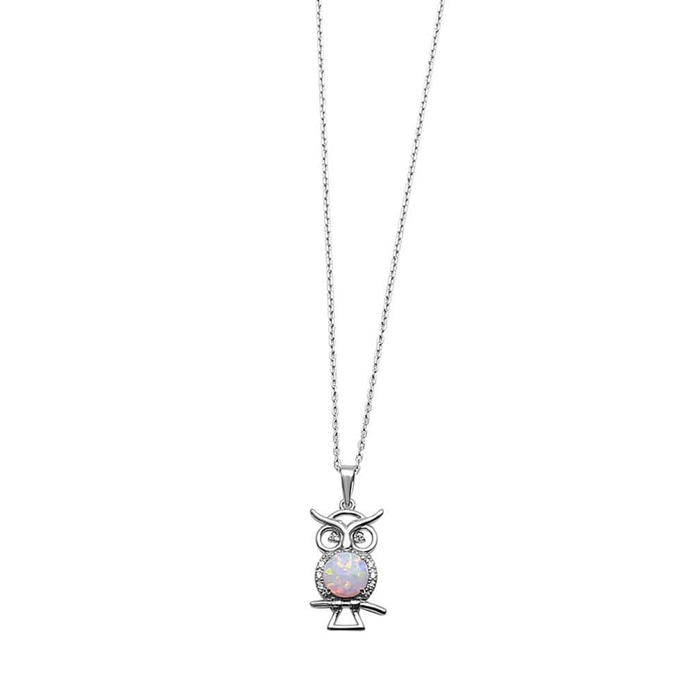Necklace Owl with Opal Center Stone Necklace