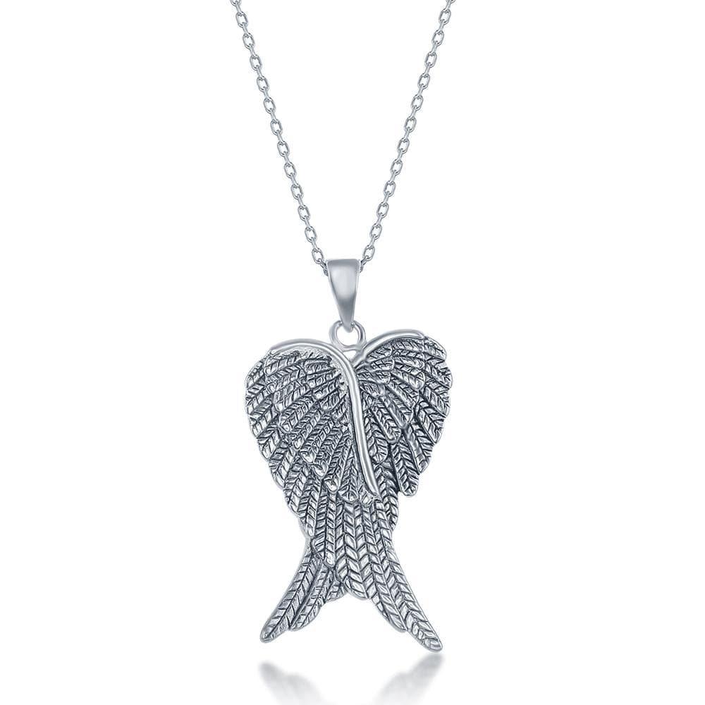 Necklace Pair of Angel Wings Pendant Necklace Pair of Angel Wings Pendant Necklace Sterling Silver