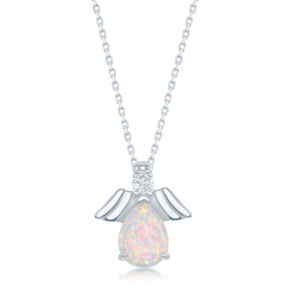 Necklace Pear-Shaped White Opal with Angel Necklace Pear-Shaped White Opal with Angel Necklace Sterling Silver