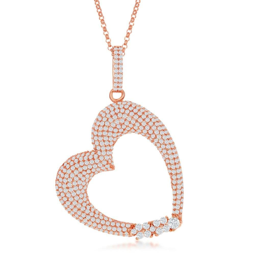 Puffed Micro Pave Heart Necklace