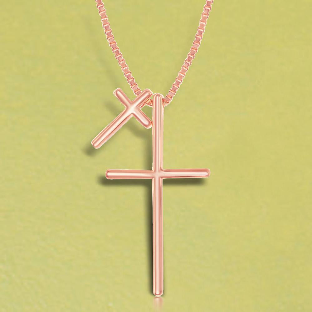 Necklace Rose Gold Finish Double Cross Necklace Rose Gold Finish Double Cross Necklace Sterling Silver