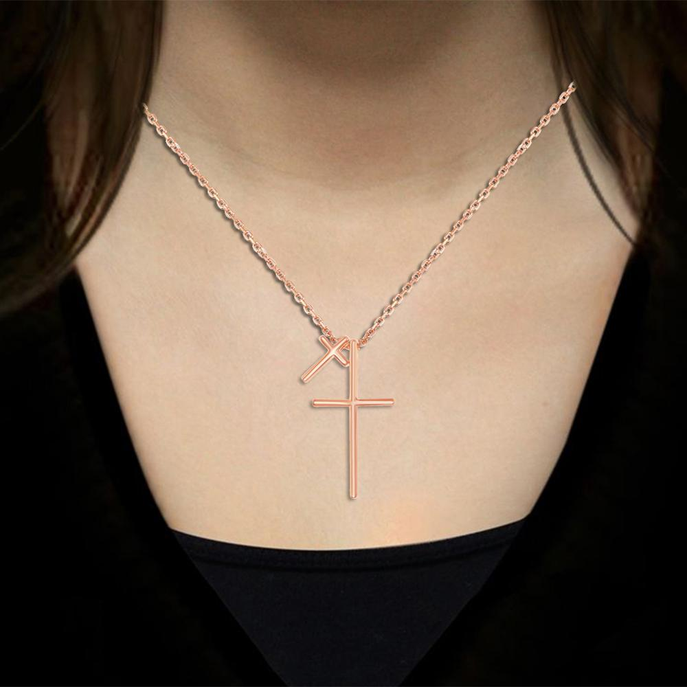 Necklace Rose Gold Finish Double Cross Necklace
