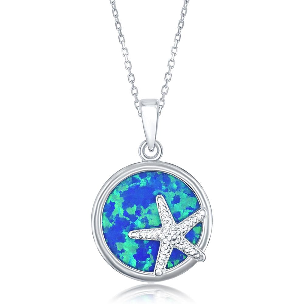 Round Blue Opal with Starfish Necklace