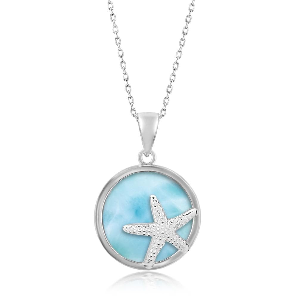 Round Larimar with Starfish Necklace