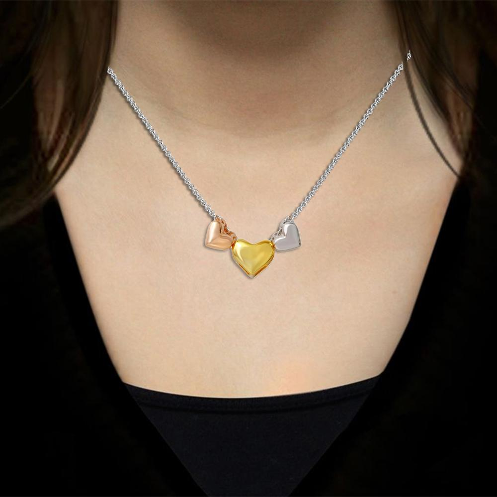 Necklace Tri Color Three Heart Necklace