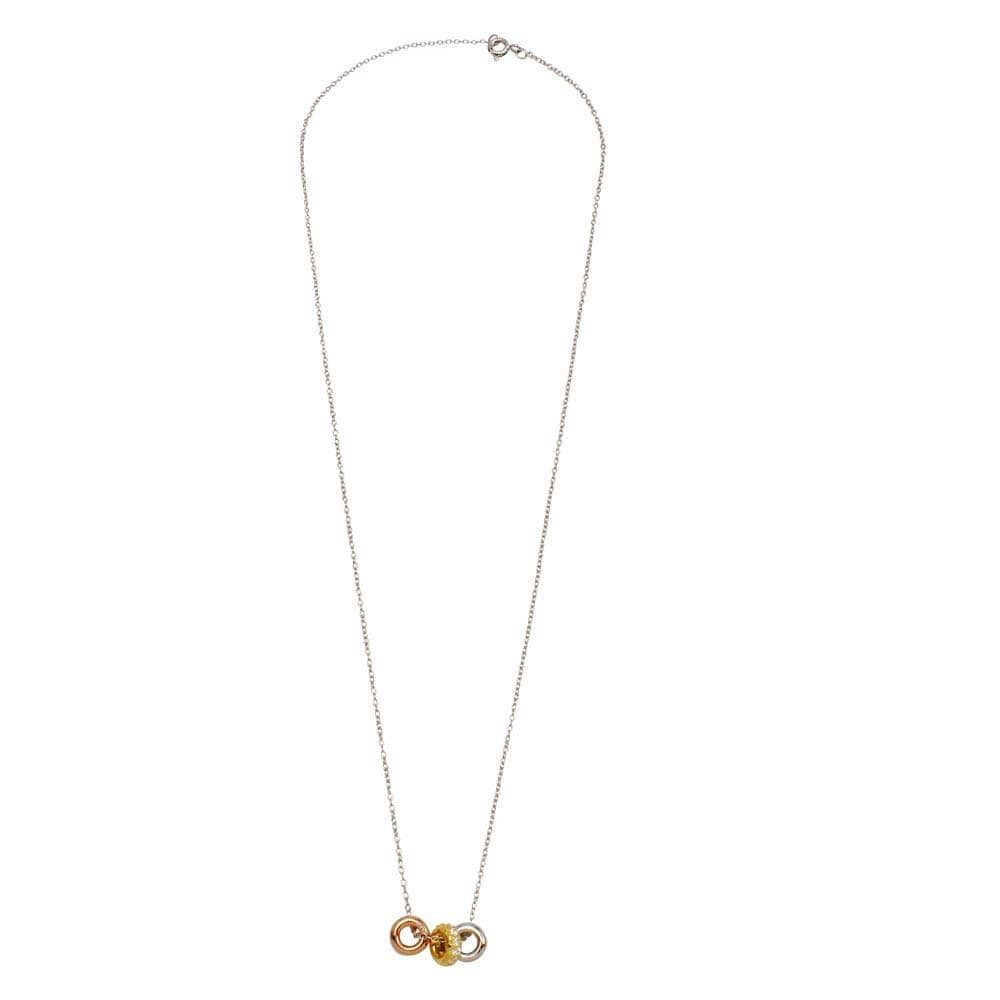 Necklace Tri Color Three Hoops with Diamond Necklace