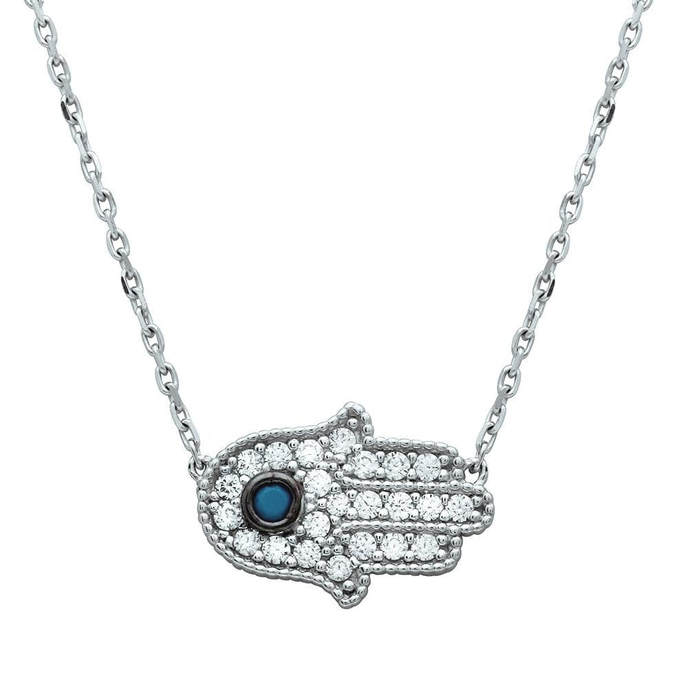Necklace Turquoise Stone With Encrusted Hamsa Necklace Sterling Silver 925 Rhodium Plated CZ Encrusted Hamsa Necklace with Turquoise Stone