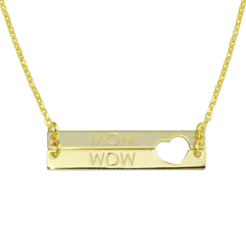 Bar Open Heart MOM Necklace
