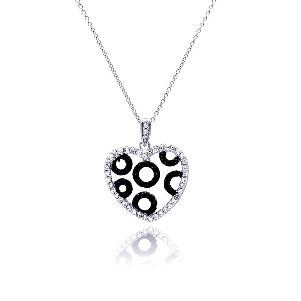 Necklace White and Black Diamond Heart Circles Necklace