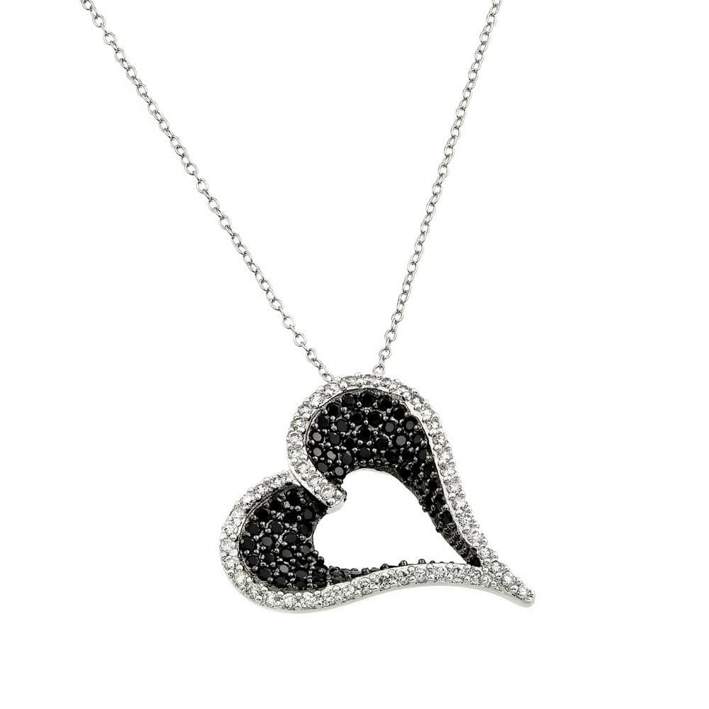 Necklace White and Black Diamond Stone Heart Necklace