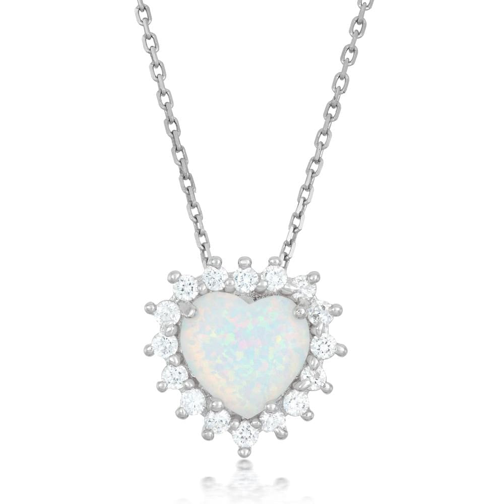 White Opal Heart Cluster Necklace