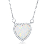 White Opal Heart Shape Cluster Necklace
