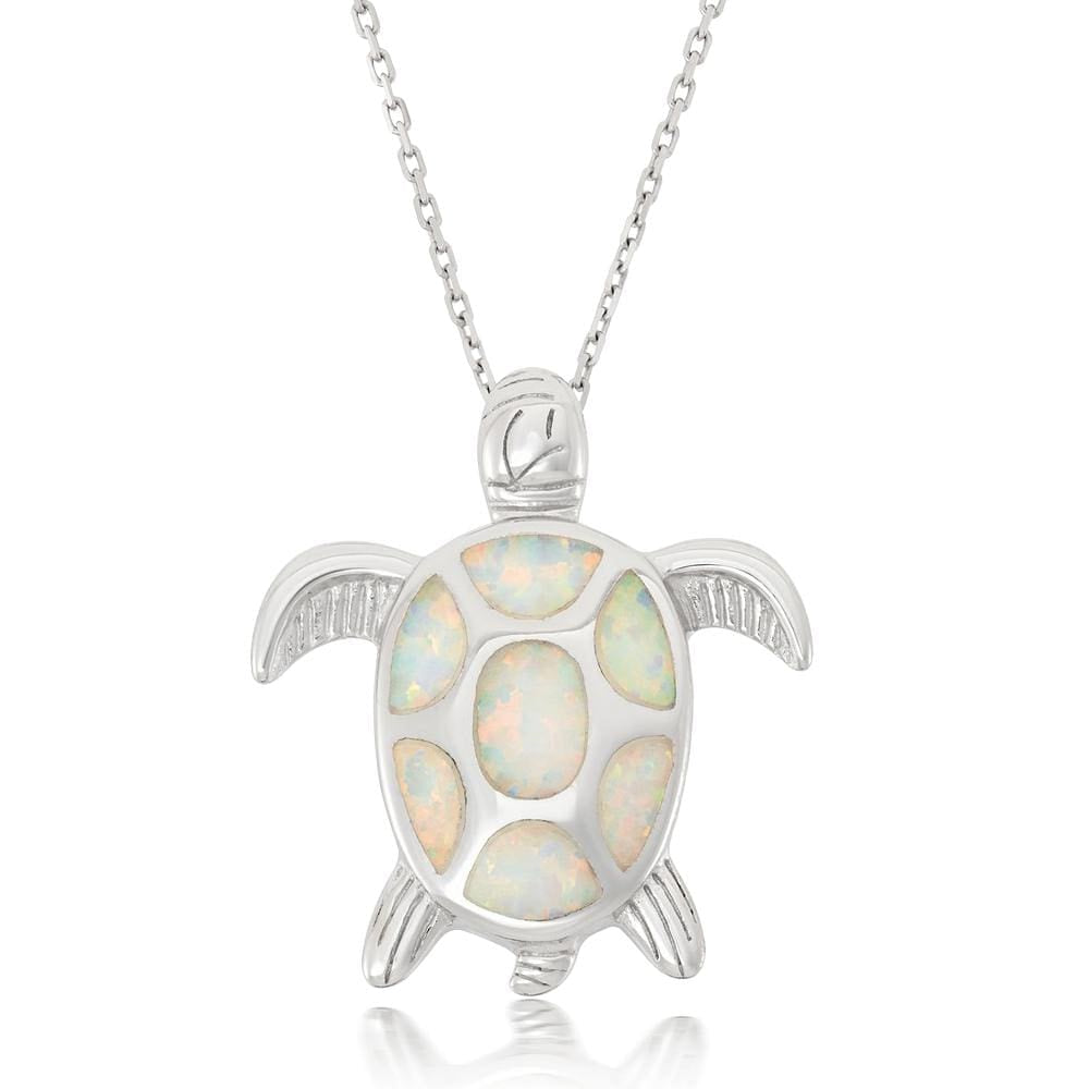 White Opal Turtle Pendant Necklace