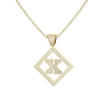 Necklace X Initial Pendant 14k Yellow Gold Finish X Initial Pendant