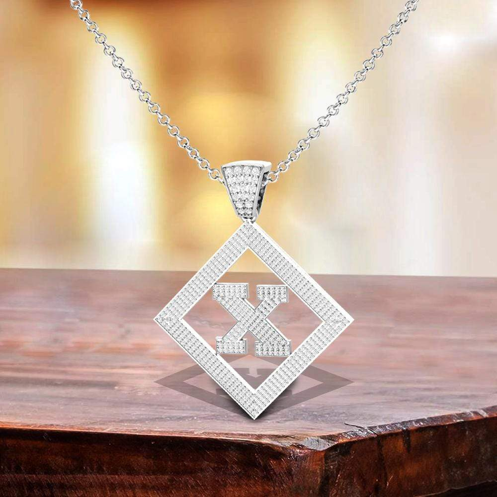 Necklace X Initial Pendant 14k White Gold Finish X Initial Pendant