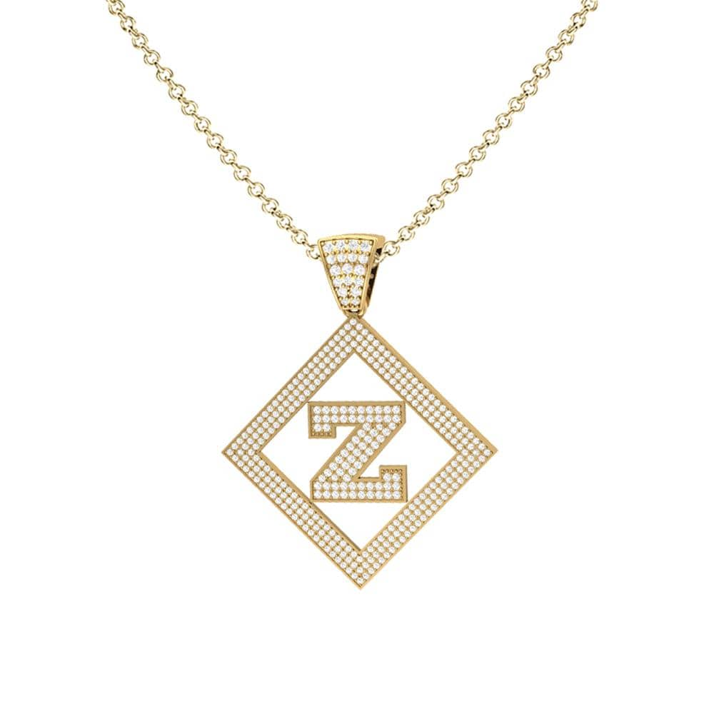 Necklace Z Initial Pendant 14k Yellow Gold Finish Z Initial Pendant