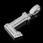 L Initial Mens Pendant Real 10K White Gold