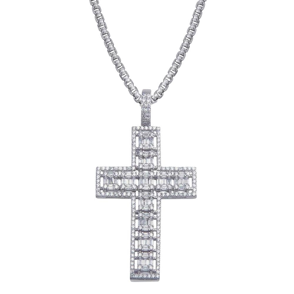 Baguette Cross Cluster Men's Pendant