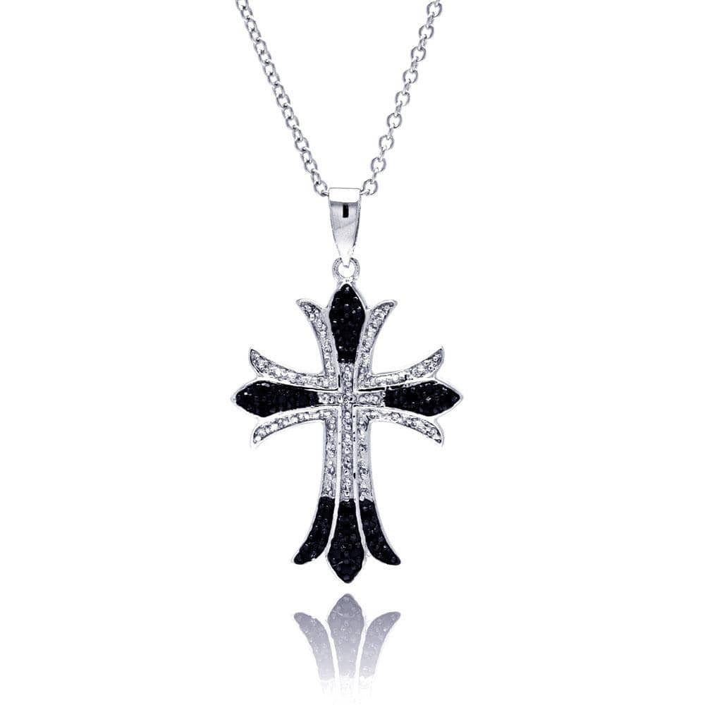 Pendant Black Cross Pendant Necklace Sterling Silver 925 Black and Rhodium Plated Cross CZ Necklace