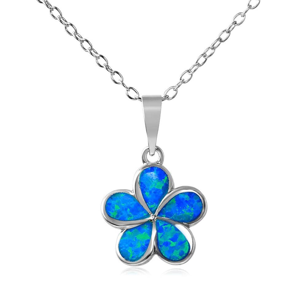 Hibiscus Flower Blue Opal Necklace