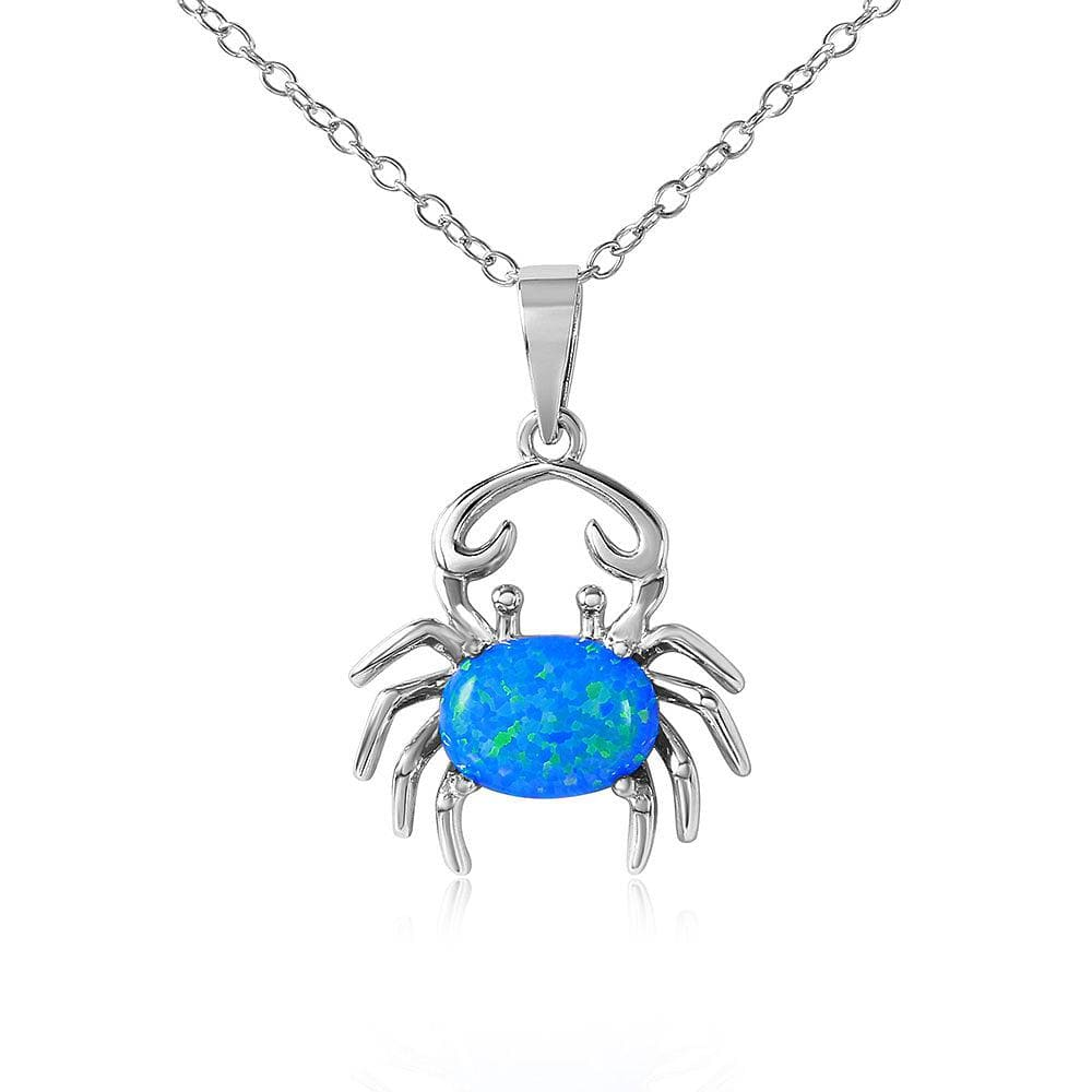 Crab with Blue Opal Necklace