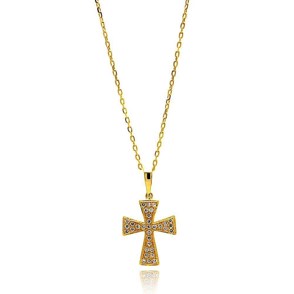 14k Gold Finish Cross Pendant Necklace