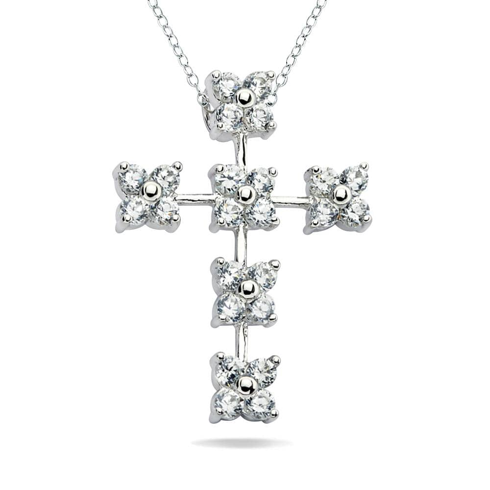Flower Cross Pendant Necklace