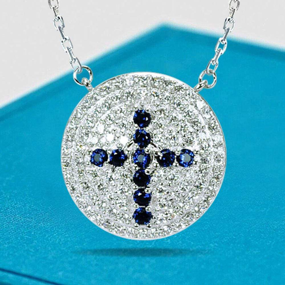 Pendant Disc Cross Diamond Inlay pendant Necklace