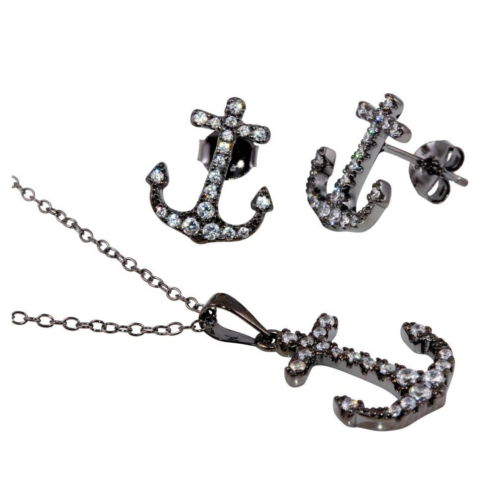 Anchor Earrings And Pendant Necklace Set