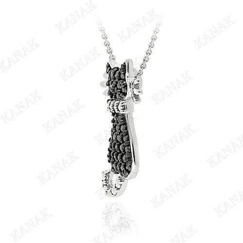 "Pendant Kitty Pendant Necklace Kitty Pendant W/ 16"" Chain 14K White Gold Finish"