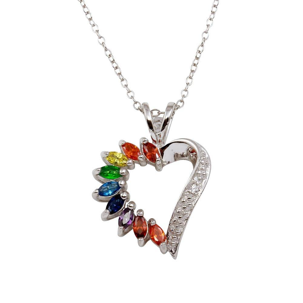 Pendant Multi Color Open Heart Pendant
