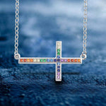 Pendant Multi Color Sideways Cross Pendant