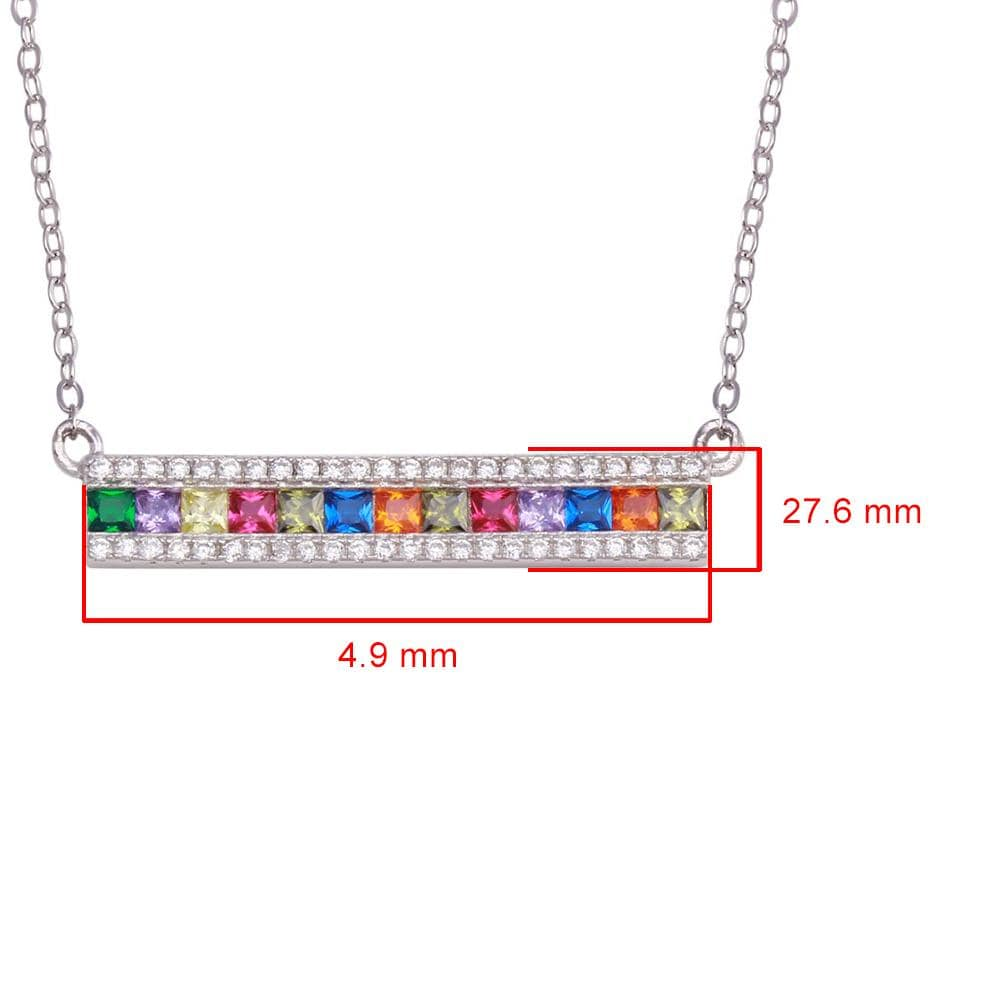 Pendant Multi Color Stone Bar Pendant Necklace