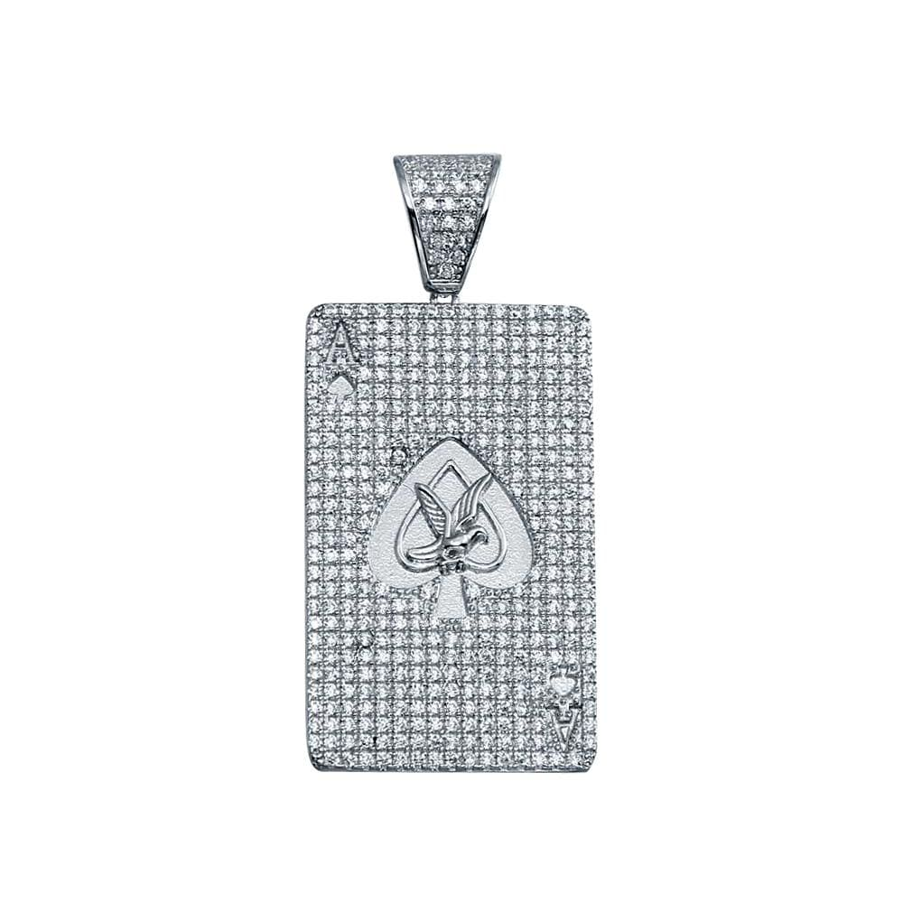 Pendant Sterling Silver Ace of Spades Poker Card Pendant