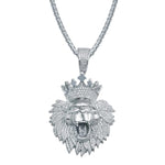 Sterling Silver Crowned Lion Pendant